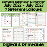 Editable Calendar 2018-2019 in Pastel Colors