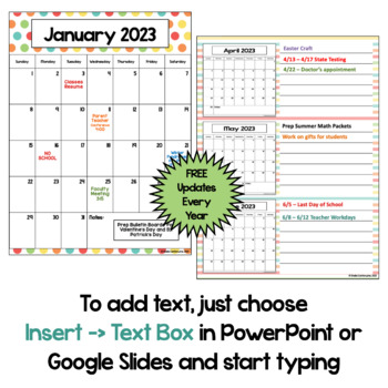 Editable Calendar 2018-2019 in Pastel Colors