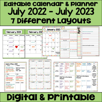 Editable Calendar 2017-2018 Teaching Resources   Teachers Pay Teachers