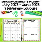 2021-2022 Editable Pastel Calendar and Planner with Digita