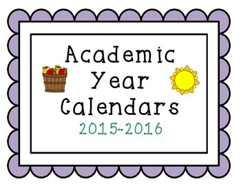 2015-2016 Simple Academic Year Calendars September-June
