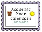 2015-2016 Simple Academic Year Calendars September-June