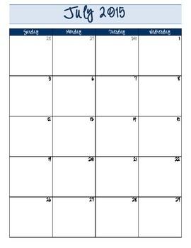 2016-2017 Academic Year Monthly Calendar