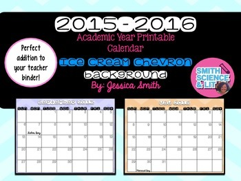 2015-2016 Academic Year Printable Calendar (ICE CREAM CHEVRON Design)