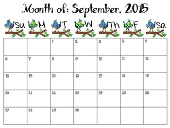 2015-2016 Birds Monthly Teacher Planner