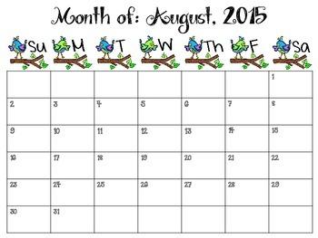 2015-2016 Birds Monthly Teacher Planner