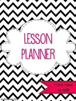 2015-2016 Black Chevron EDITABLE Lesson Planner
