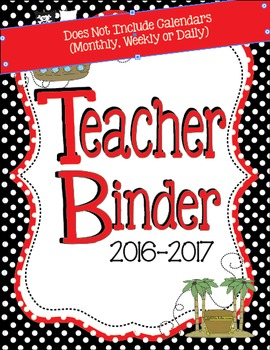 2016-2017 Black and Red Pirate Teacher Binder - Everything
