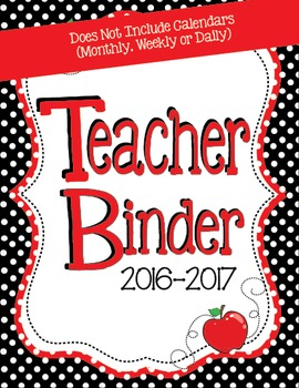 2016-2017 Black and Red Teacher Binder - Everything Minus
