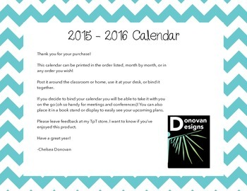 2015 - 2016 Calendar