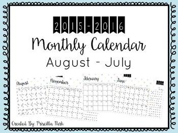 August 2015 - July 2016 Calendar