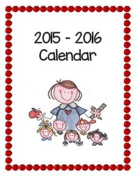 2015-2016 Calendar Cover Sheet