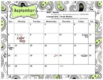 2015-2016 Calendar (Editable)