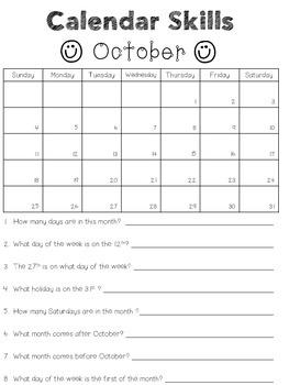 2015-2016 Calendar Skills Worksheets