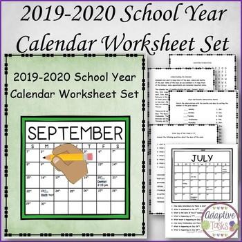 2018-2019 Calendar Worksheets