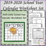 2019-2020 School Year Calendar Worksheet Set