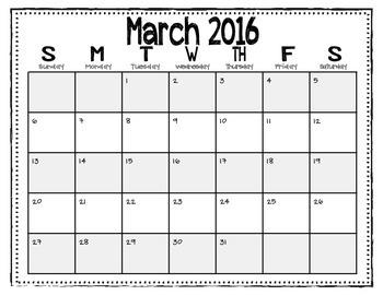 2015-2016 Calendars (Black and White/Horizontal)