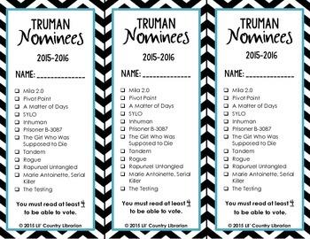 2015-2016 Chevron Missouri Readers Award Nominee Bookmarks Mark Twain and Truman