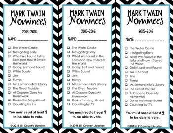 2015-2016 Chevron Missouri Readers Award Nominee Bookmarks