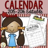 2015-2016 **EDITABLE** Classroom Calendars in SPANISH