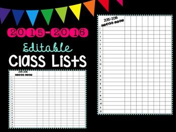 Editable 2016-2017 Class Lists