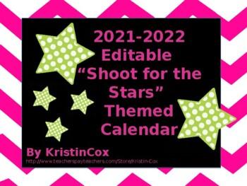 2017-2018 Editable 'Shoot for the Stars' Calendar