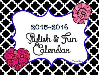 2015 -2016  Free Printable  Stylish Calendar