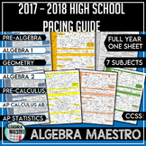 2017 - 2018 High School Math Common Core Pacing Guide