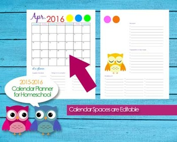 2015-2016 Homeschool Teacher Planner Calendar Editable PDF Printables - Owls