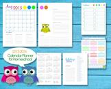 2015-2016 Homeschool Teacher Planner Calendar Editable PDF Printables - Owls