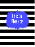 Lesson Planner and Sub Binder-Black, White, & Blue