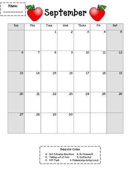 2015-2016 Monthly Behavior Calendars with Codes