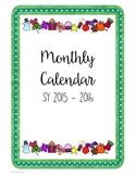 2015-2016 Monthly Calendar