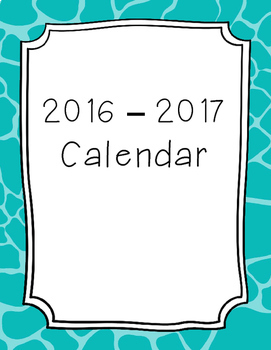 2017-2018 Monthly Calendar Giraffe Turquoise