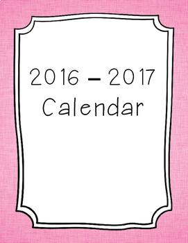 2017-2018 Monthly Calendar Pink Linen