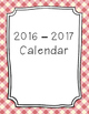 2016-2017 Monthly Calendar Pink Plaid