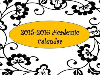 2015-2016 Monthly Calendar Orange and Black Academic
