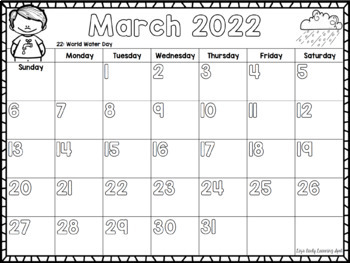 2017-2018 Monthly Calendar for Kids (editable/then free)