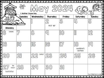 2018 monthly calendars