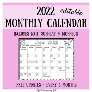 2019 Monthly Calendar For Kids Editable Free Updates TpT