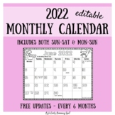 2019-2020 Monthly Calendar for Kids (editable) - free updates