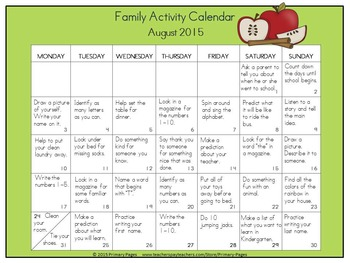 2016-2017 Monthly Collaborative Homework Calendars- Apple Theme