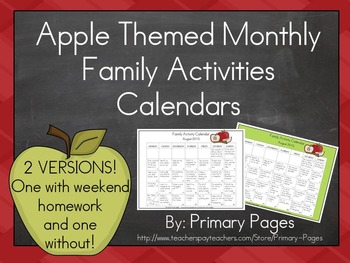 2016-2017 Monthly Collaborative Homework Calendars- Apple Theme
