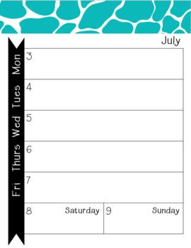 2017-2018 Monthly-Weekly Calendar Giraffe Turquoise