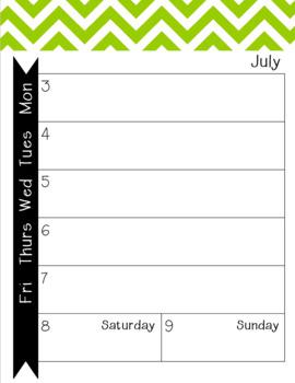 2017-2018 Monthly-Weekly Calendar Green Chevron