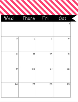 2017-2018 Monthly-Weekly Calendar Pink Stripes