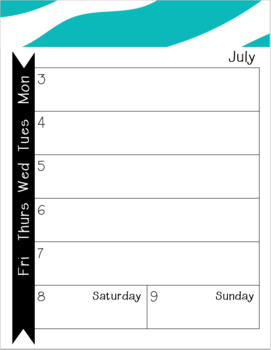 2017-2018 Monthly-Weekly Calendar Zebra Turquoise