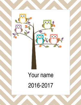 2016-2017 Owl Teachers Binder