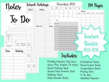 2015-2016 Planner and Teacher Binder