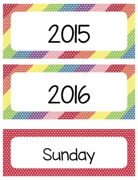 2015 - 2016 Printable Classroom Calendar - Mini Star Theme